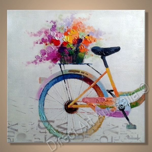 Pretty Bicycle Painting, Flowers on the cycle's carrier - Direct Art Australia,   Availability: Delivery 14 - 21 days,  Shipping: Free Shipping,  Minimum Size: 50 x 60cm,  Maximum Size: 90 x 120cm,   Huge Online Gallery - have a browse!  http://www.directartaustralia.com.au/