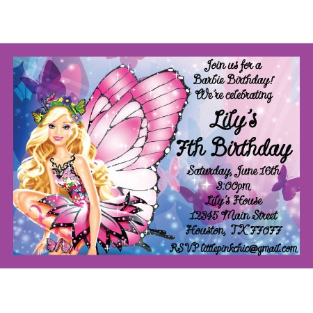 Barbie Mariposa Birthday Inviation