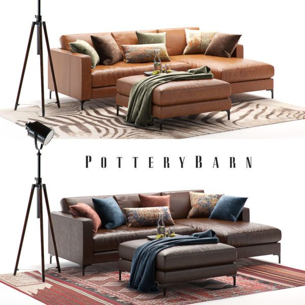 Pottery Barn Pottery Barn Jake Leather Corner Sofa Leather