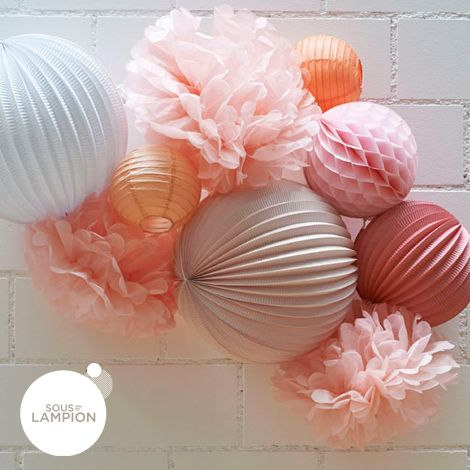 Honeycomb ball - 30cm - Peach smoothie - Sous Le Lampion - Lantern and Lampion