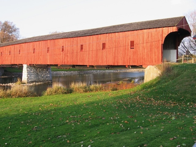 West Montrose Covered Bridge built in 1880 the only covered bridge remaining in Ontario. Along the Guelph-Elmira Road over the Grand River in Waterloo County.