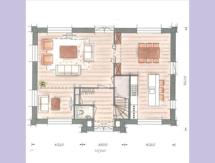 plattegrond villa begane grond - Indeling keuken/eetkamer top zo! Zou alleen bijkeuken bij willen voor opslag.