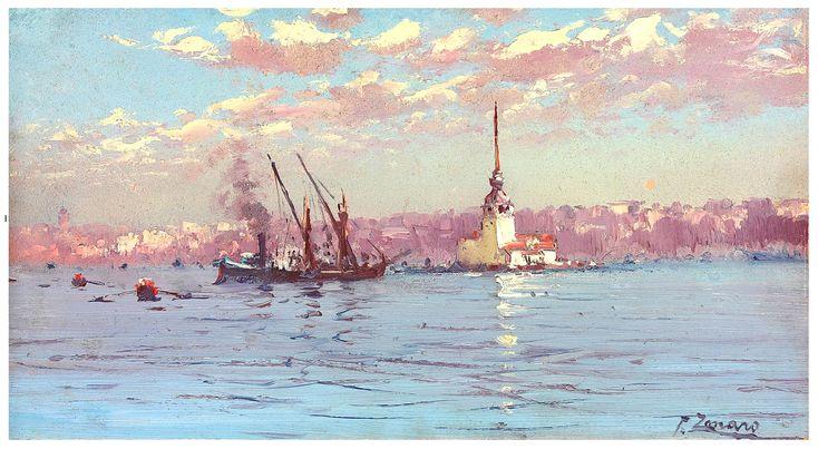 Fausto Zonaro  (Italian, 1854-1929)  Kiz Kulesi (Leander's Tower), Istanbul