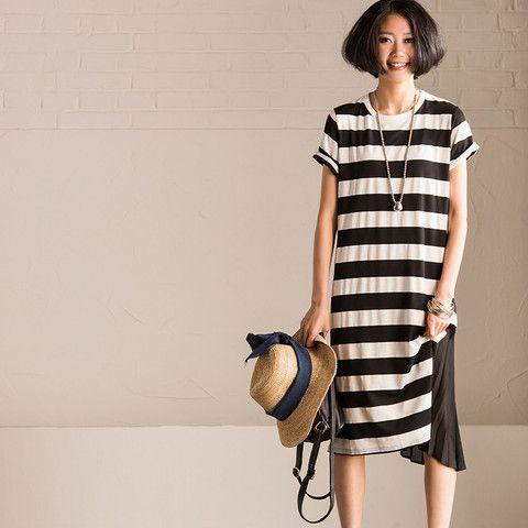 Korean Asymmetric Joining Together Stripe Long Dress Summer Short Sleeve Causel Women Clothes