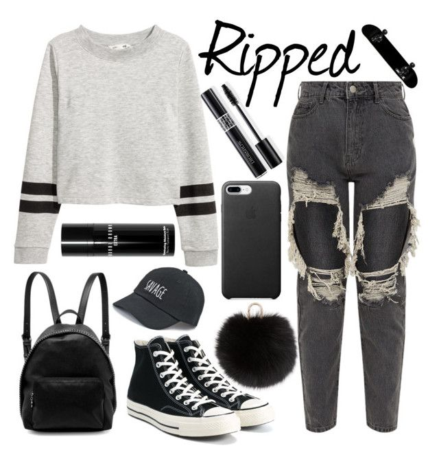 """""""Edgy Look♡♡♡"""" by christina123green ❤ liked on Polyvore featuring Yves Salomon, STELLA McCARTNEY, Converse, SO, Bobbi Brown Cosmetics and Christian Dior"""