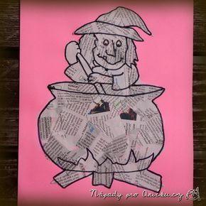 Tvoření vhodné třeba na konec dubna k pálení čarodějnic. Na barevný papír namalujeme nebo vytiskneme obrys čarodějnice nebo jiného obrázku. Necháme děti polepit plochu novinami. Větší děti si obrázek i domalují fixou či tuší, menším budeme muset s domalováním pomoci. Můžete také použít naši čarodějnici z pracovního listu - ke stažení zde. Novinovou technikou jsem se inspirovala od Moniky z kopečku, kde vyráběli krásné kočičky.