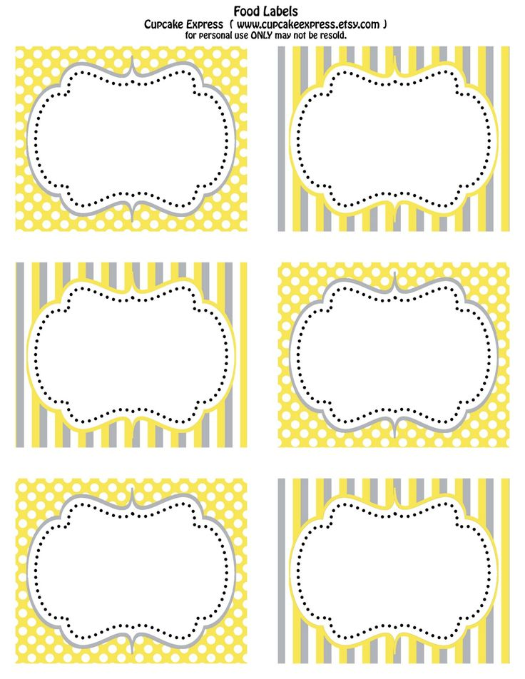 Cupcake Express: Free Printable Yellow and Grey food labels& Cupcake wrappers