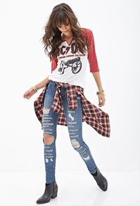 Low rise ripped blue skinny jeans - forever 21 $33.80