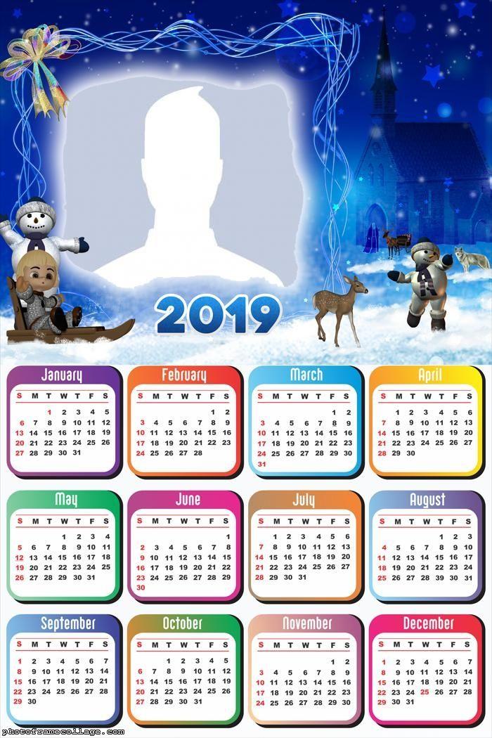Christmas 2019 Frame Christmas Snow Night Calendar 2019 Frame Photo Montage Free Online