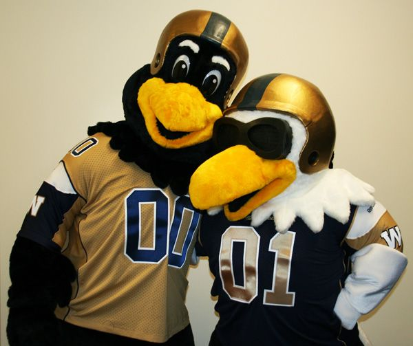 Boomer (left) and Buzz, Winnipeg Blue Bombers mascots.