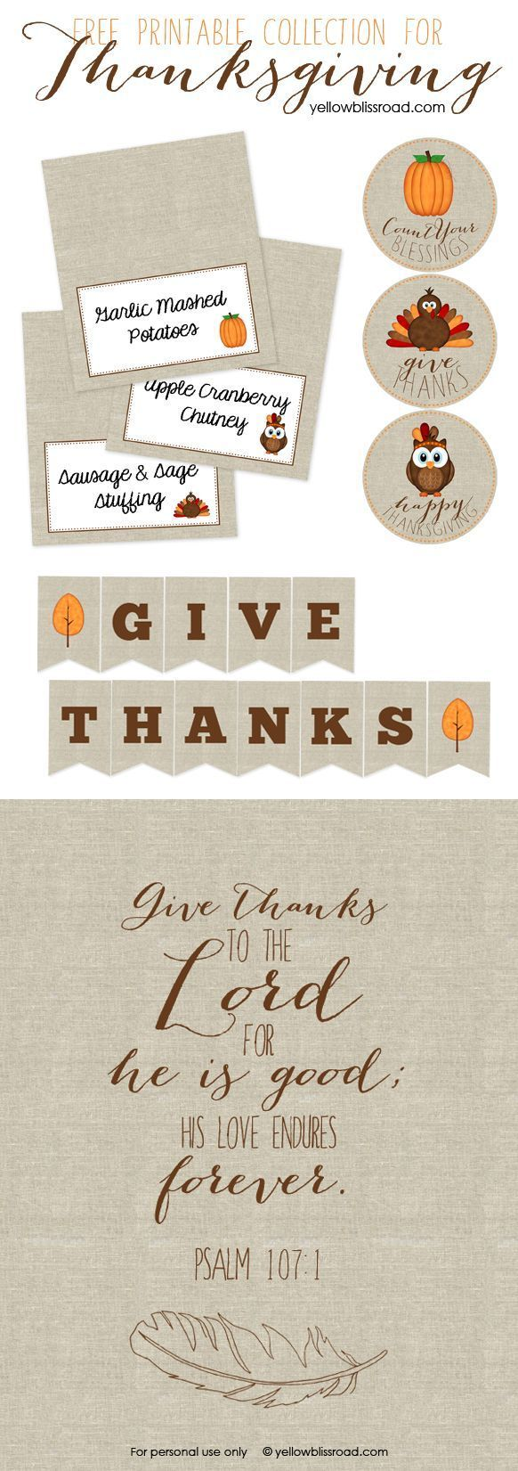 Free Printables for Thanksgiving - Yellow Bliss Road