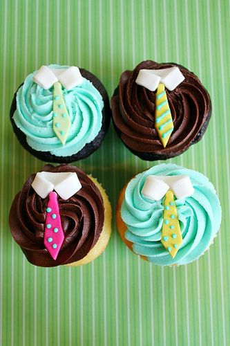 tie cupcakes  {seen on Cupcakes Take The Cake blog} #fathersday #ties #cupcakes