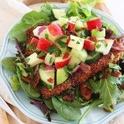 Crispy Chicken Salad with Apples and Bacon - would make the apple salsa less chunky