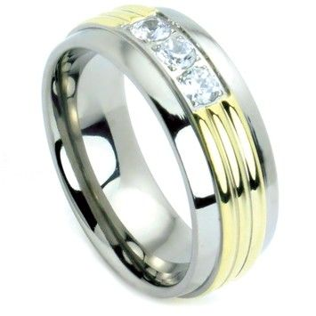 Goldsmith Sale Unisex Gold IP Titanium Unisex Band Large Cubic Zirconia Setting Setting Sizes 6mm (sizes 5-8)-8mm (sizes 9-13) Plus Half Sizes Free Shipping