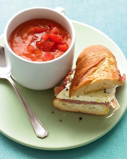 Tomato Gazpacho with Prosciutto Mozzarella Sandwiches - a delicious soup-and-sandwich combo.No Cooking Gazpacho, Soup And Sandwiches Combos, Summer Style, Soupandsandwich Combos, Summer Recipe, Nocook Gazpacho, Martha Stewart, Sandwiches Recipe, Tomatoes Gazpacho