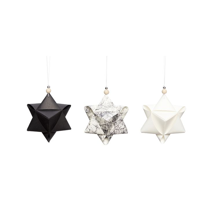 Large handfolded paper Christmas stars in a set of 3. Item number: 430304 - Designed by Hübsch