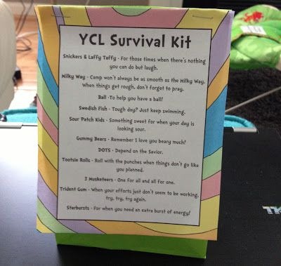 Girls Camp Pillow Treats: Oh the Places You'll Go - YCL Survival Kit