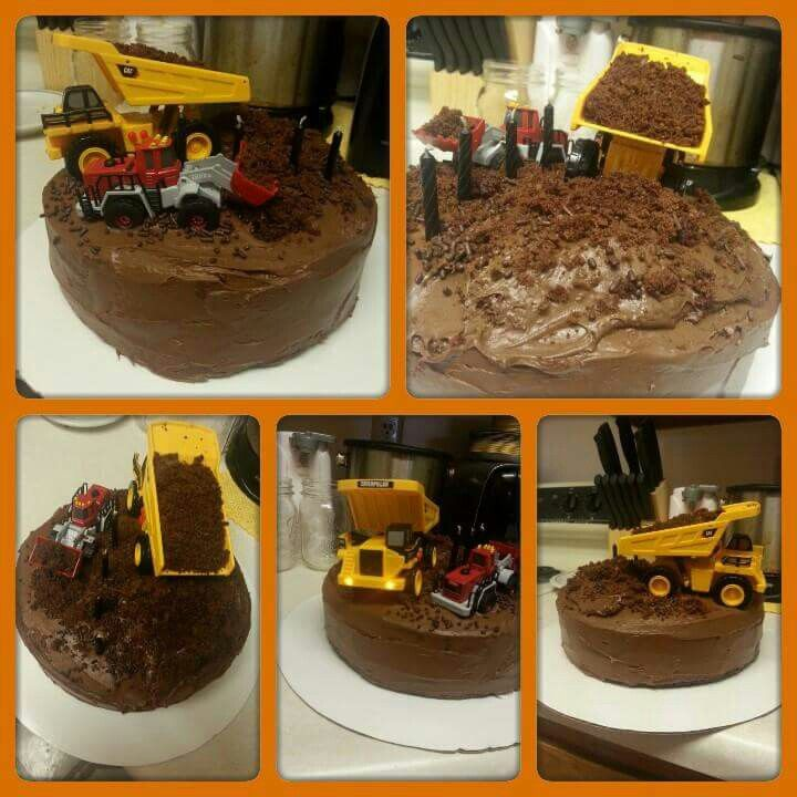 "Rylan's 4th birthday. Chocolate construction layer cake. Chocolate cake with chocolate icing in between layers and on the outside. Topped with cake crumble ""dirt"", a dump truck toy filled with ""dirt"" and a front loader toy truck."