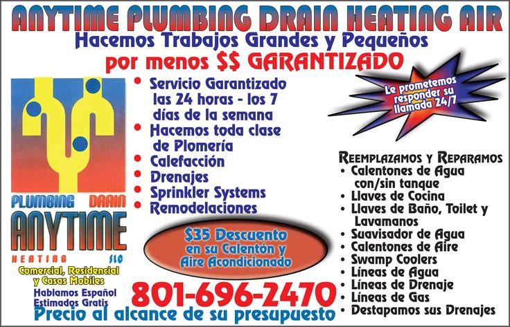 SERVICIOS DE PLOMERIA EN UTAH, contacta a Anytime Plumbing Drain Heating Air, los mejores servicios para la Comunidad de Utah.