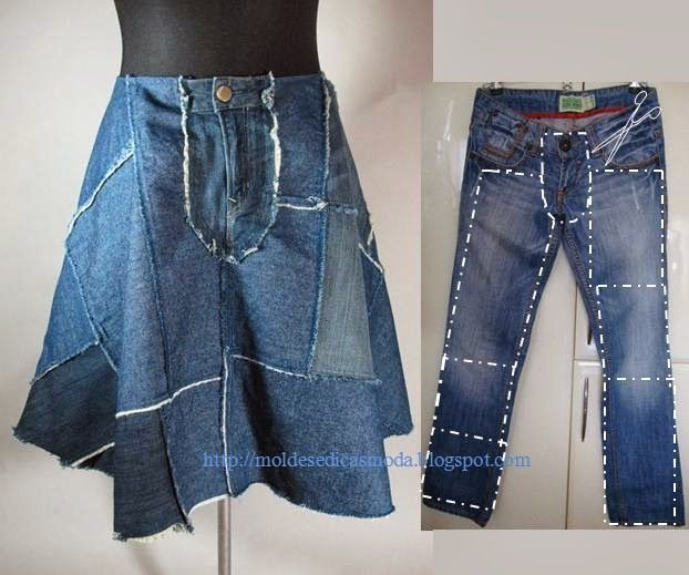 Recycle jeans into a flared patehy skirt