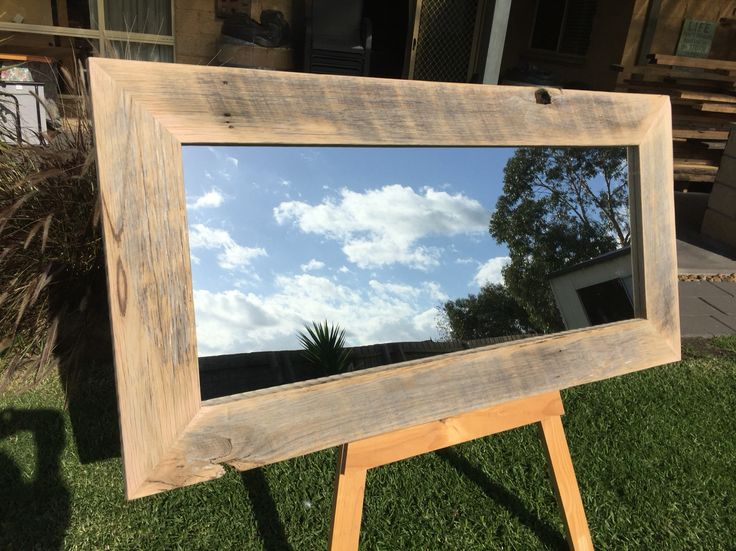 Raw rustic hardwood mirror