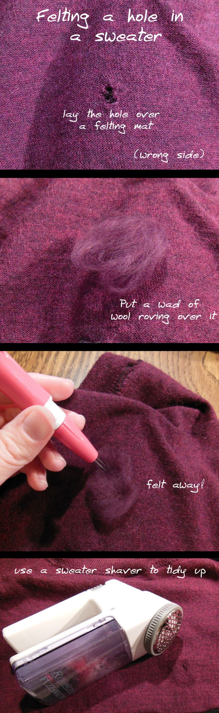 felting to mend a hole in a sweater
