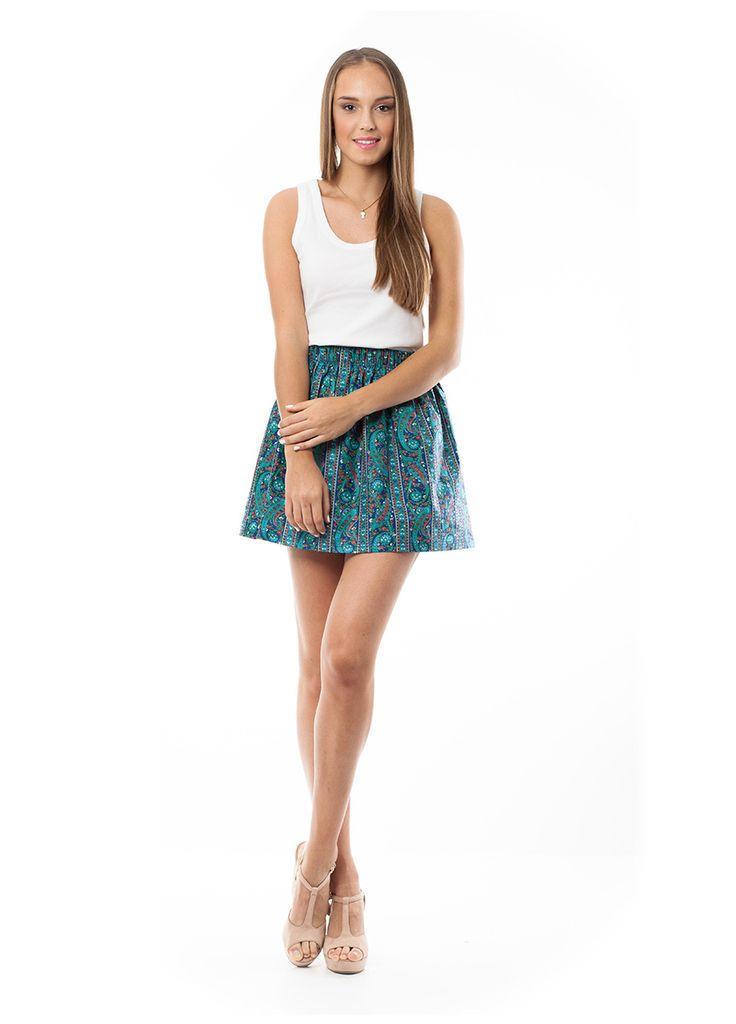 Mini printed skirt. Find it at www.disu.gr