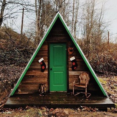 A-Frame cabin built by @careyquintonhaider