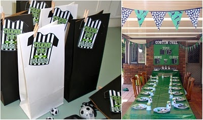 soccer themed party green-black-white