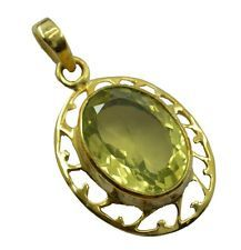 enticing Lemon Quartz Gold Plated Yellow Pendant indian US gift