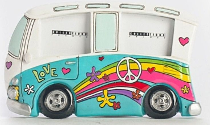 Super cute photo frame Kombi Combi Volkswagen (sky blue) Photo Frame Hippee - Surf style fun Beach VW