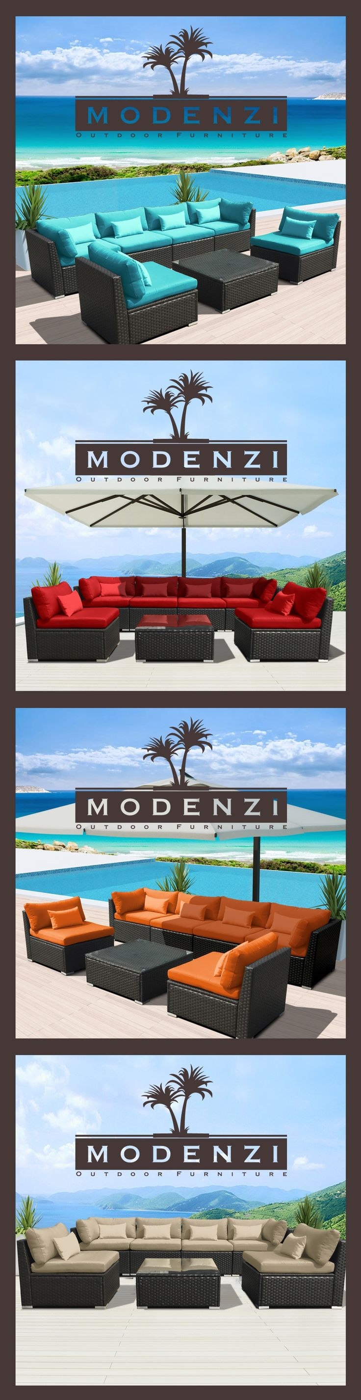 For a Limited time @ $699 Including shipping Modern Modenzi 7G-U Outdoor Sectional Patio Furniture Espresso Brown Wicker Sofa Set (Turquoise)