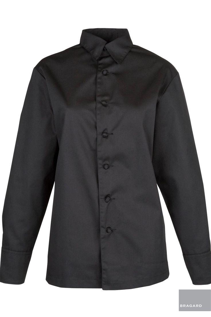 AUBERGE MUJER CHAQUETA CAMISA DE COCINA NEGRO Chaquetilla de cocina, estilo camisa, botones hechos a mano, puños con gemelos, modelo registrado, Largo 75 cm, 65% poliéster, 35% algodón Negro