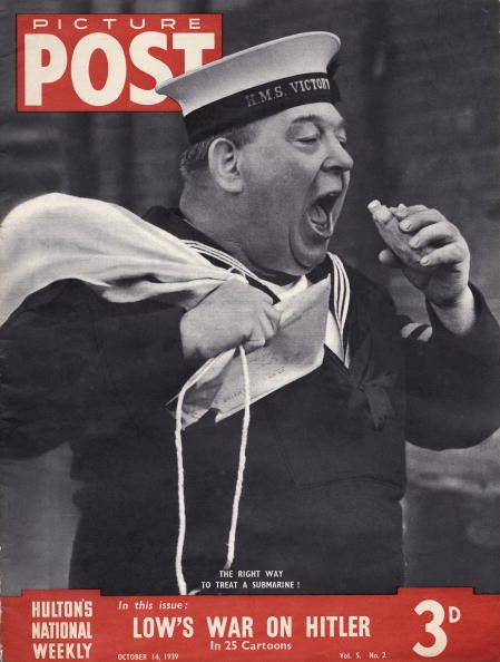 Eating For Victory. The cover of Picture Post magazine, featuring a British sailor eating a sandwich, October 1939. The caption reads: 'The right way to treat a submarine!'. Original Publication: Picture Post Cover - pub. 14th October 1939 (Photo by IPC Magazines/Keystone/Picture Post/Getty Images)