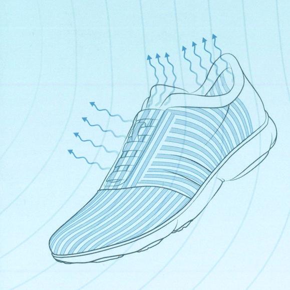 Das spezielle Innenfutter schafft zusätzlichen Raum zwischen Fuß und Obermaterial und garantiert dadurch eine optimale Wärmeregulierung.