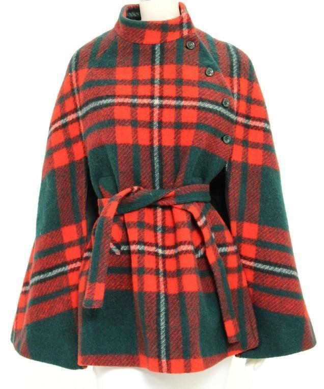 Boru Vintage Red & Green Plaid Wool Button Up Mock Collar Belted Cape #Boru #Cape