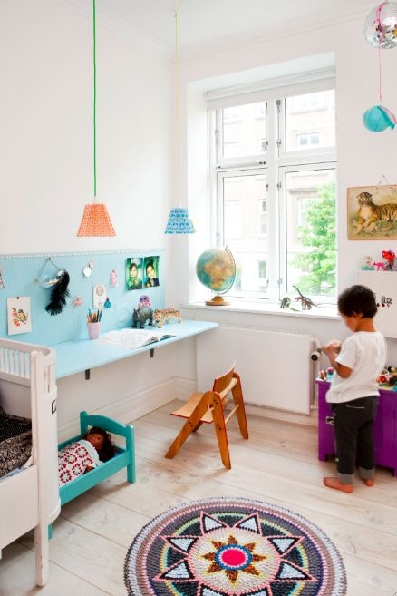 the boo and the boy: kids desks   great idea to have 'splashback' - avoids drawing on wall!