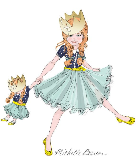 11 by 14 Children's Fashion Illustration Wall by PetiteChicShop