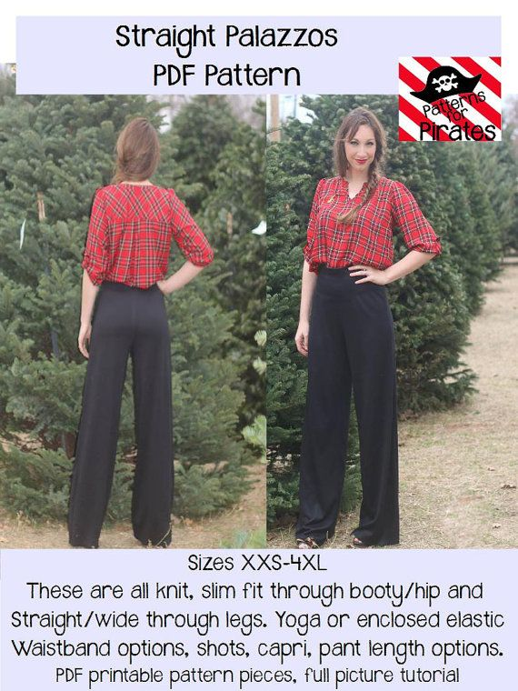 Straight Palazzos Pants Carpirs Shorts by PatternsforPirates women's sewing pdf pattern tutorial palazzo wide leg knit diy