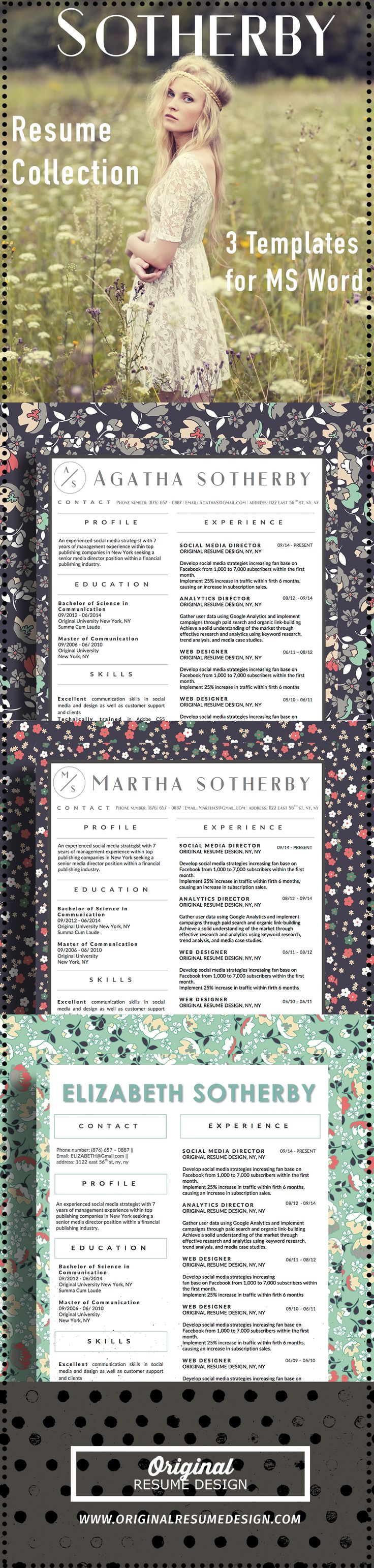 best images about resume creative resume modern 3 beautiful resume designs by original resume design the sotherby collection