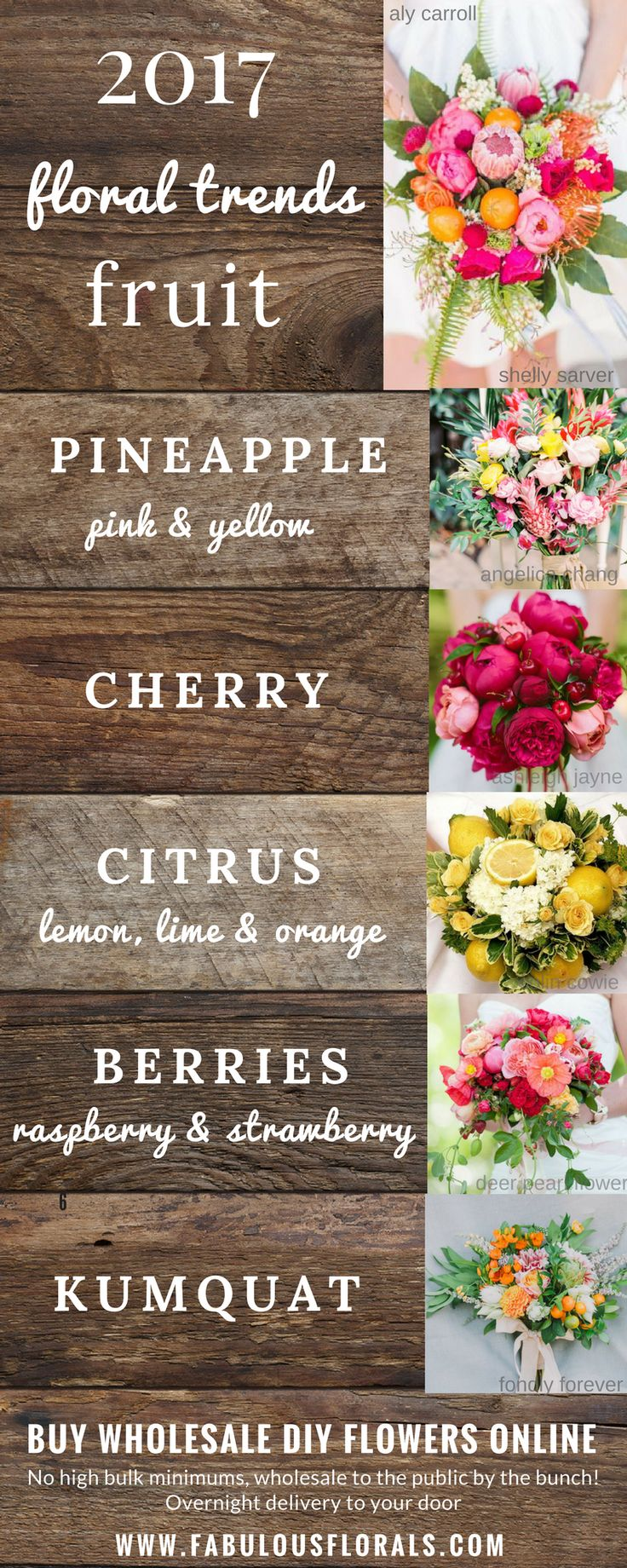 2017 Popular Floral Arrangement Trends - Fruits. 2017 Wedding Bouquet with Fruit Trends