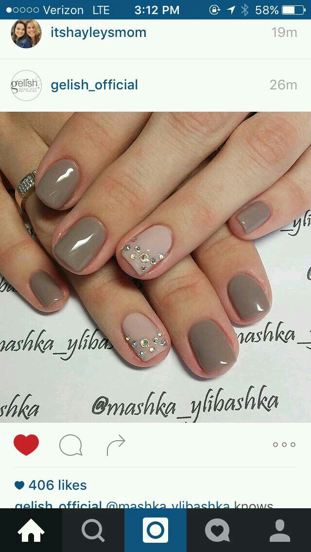 Taupe with accent nail