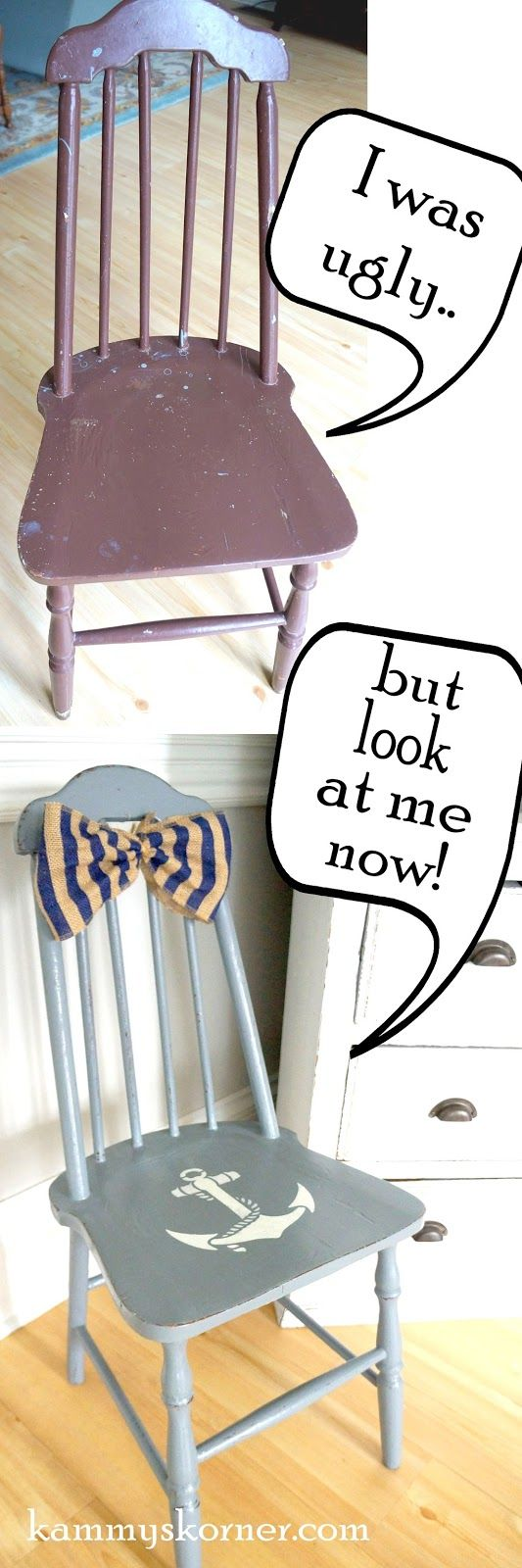 Kammy's Korner: A Wood Kitchen Chair Is A Blank Canvas! Gray Blue spindle chair with navy striped burlap bow and white anchor stencil