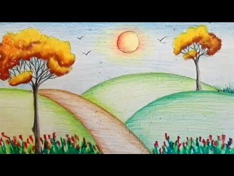 How to draw easy scenery step by step for kids/ Spring ...
