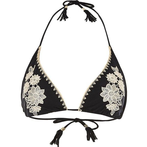 River Island Black floral embroidered bikini top (£36) ❤ liked on Polyvore featuring swimwear, bikinis, bikini tops, bikini, halter swim top, halter neck bikini, tassel bikini top, halter-neck bikinis and string bikini
