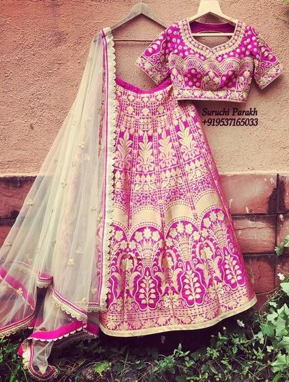 Lovely banarasi pink lehenga by Suruchi Parakh! Buy this beauty now