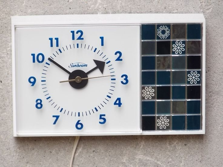 Sunbeam Blue & White Rectangle Kitchen Clock - New Old Stock