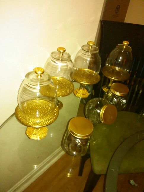 Diy Handmade Cupcake Stands Dollar Store Amp Buffet Candy Jars Amp Metallic Gold Spray Paint Gold