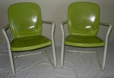 Two 1950s arvin metal outdoor patio chairs products i for 1950s metal patio chairs