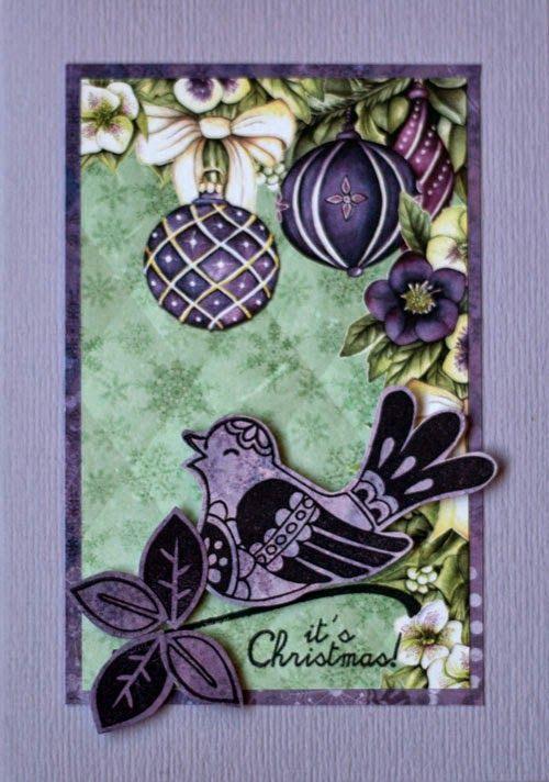 Marjoleine's blog: 4 paarse kerstkaarten met een vogel